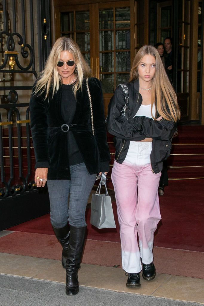 Supermodel Kate Moss and daughter Lila Grace Moss-Hack are seen on January 18, 2020 in Paris, France