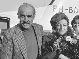 Sean Connery and his wife back in the day in a black and white photo.