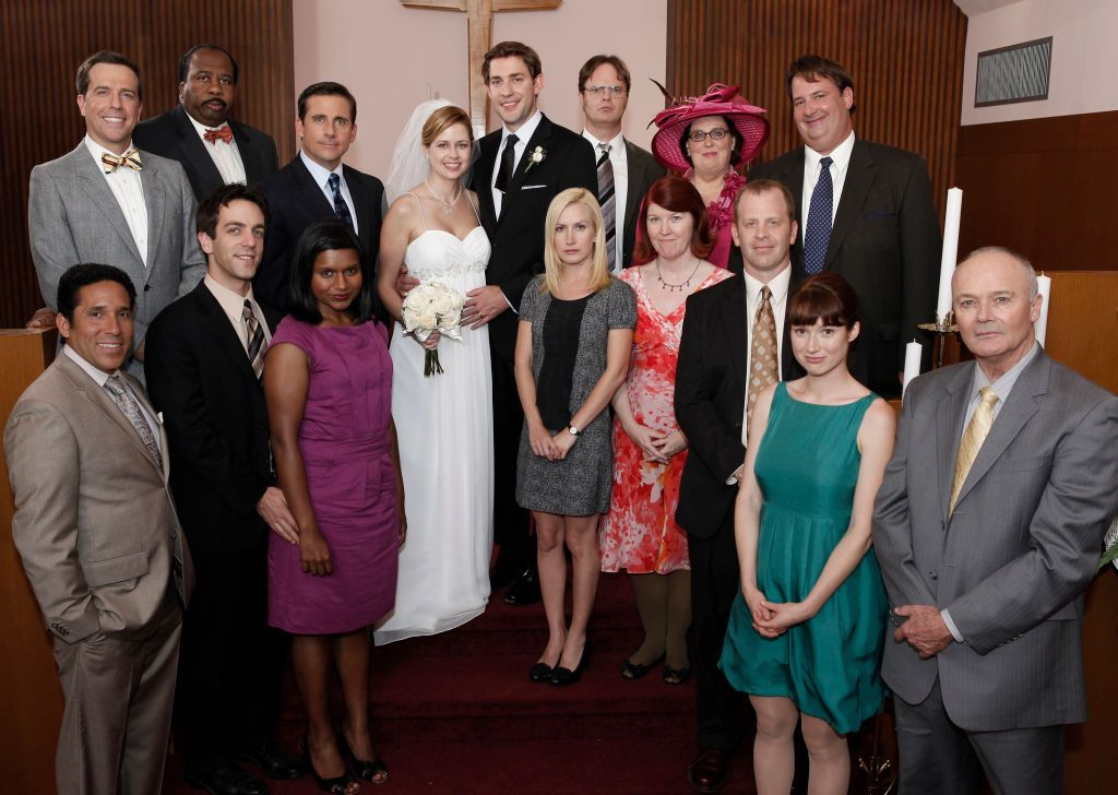 The cast of The Office in Season 6 at the wedding