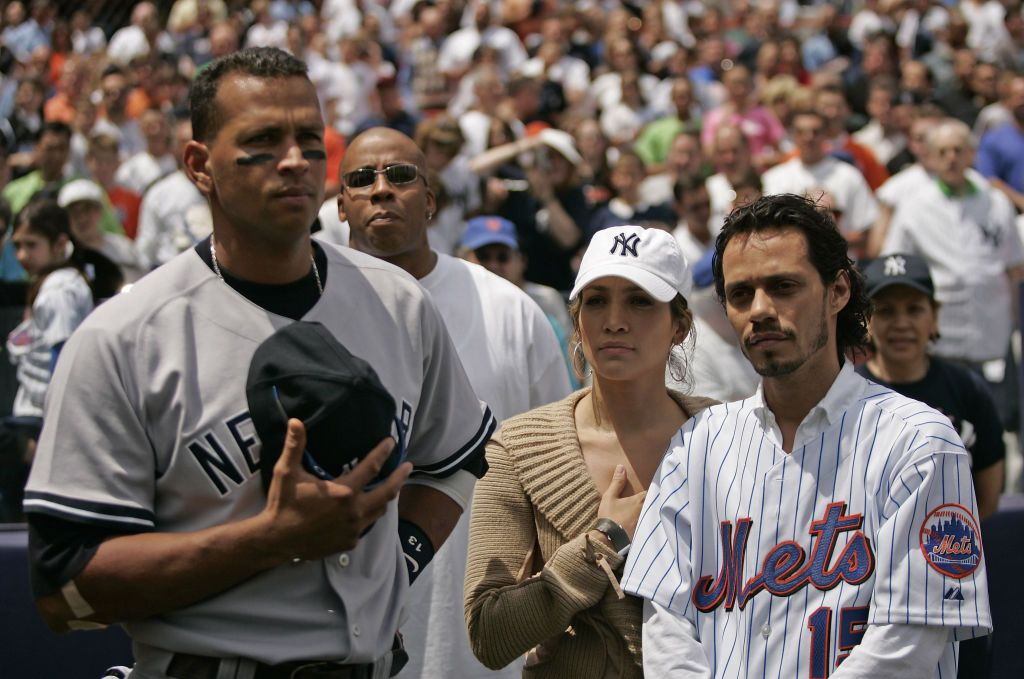 Jennifer Lopez with her ex-husband Marc Anthony at a Yankees game