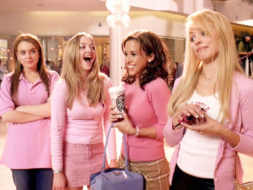 A scene from Mean Girls with all the girl wearing pink at the mall