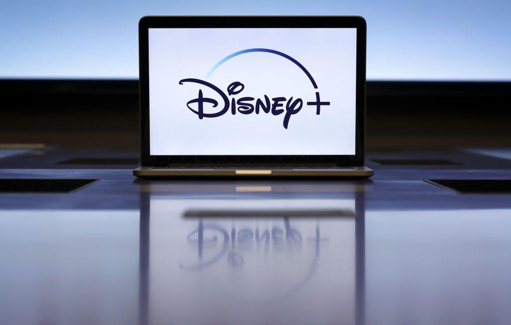 A laptop with the Disney plus logo