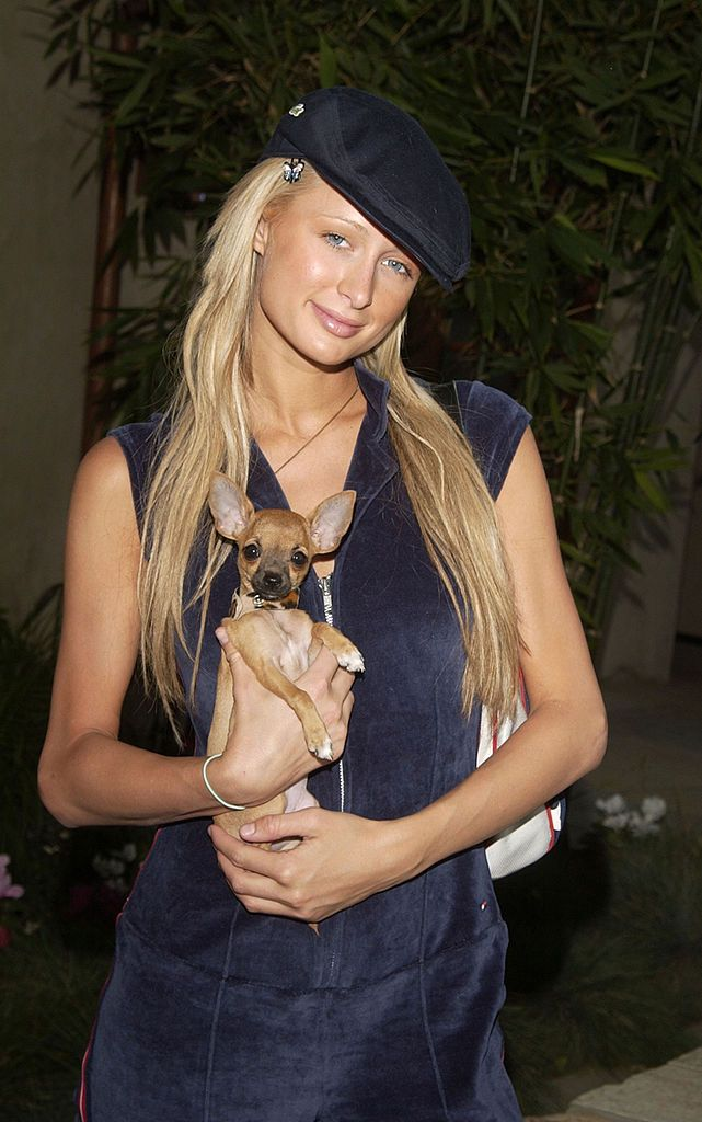 Paris Hilton with her dog, Tinkerbell
