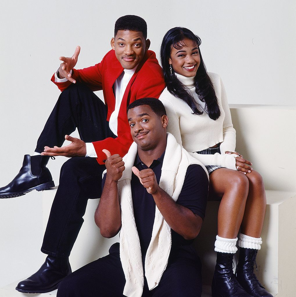 THE FRESH PRINCE OF BEL-AIR -- Season 5 -- Pictured: (l-r) Will Smith as William 'Will' Smith, Alfonso Ribeiro as Carlton Banks, Tatyana Ali as Ashley Banks