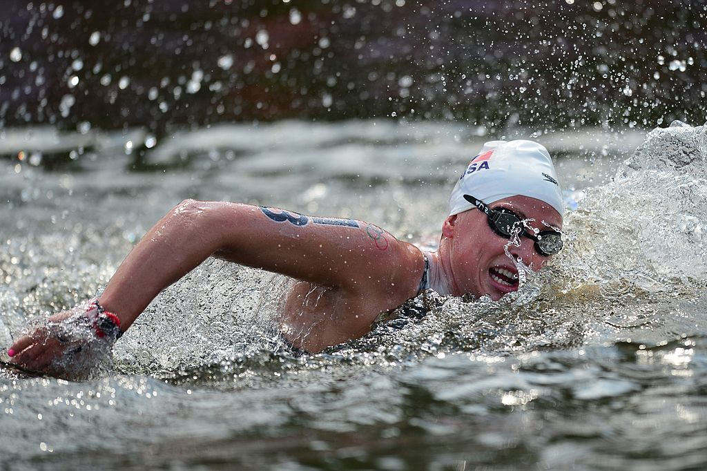 US swimmer Haley Anderson competes in the women's 10km open water swimming marathon at the London 2012 Olympic Games