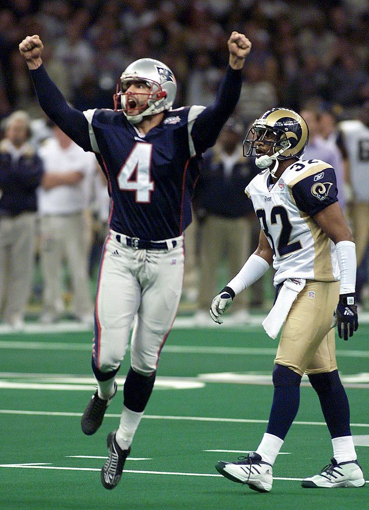 New England Patriots kicker Adam Vinatieri (L) jumps for joy after kicking the game wining field goal 03 Super Bowl XXXVI 03