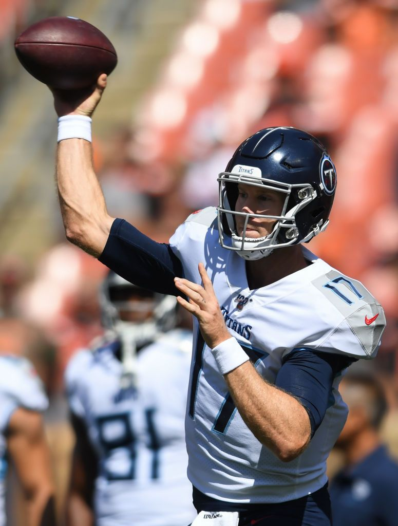 Quarterback Ryan Tannehill #17 of the Tennessee Titans throws a pass prior to a game against the Cleveland Browns