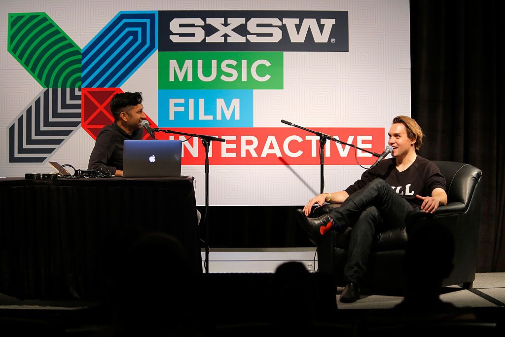 Host Hrishikesh Hirway (L) and Will Butler of Arcade Fire speak onstage at 'Song Exploder Live Podcast: Will Butler' during the 2015 SXSW Music, Film + Interactive Festival