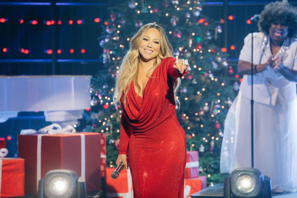 """Mariah Carey performs """"Oh Santa"""" from her 25th Anniversary album reissue of Merry Christmas during The Late Late Show with James Corden"""