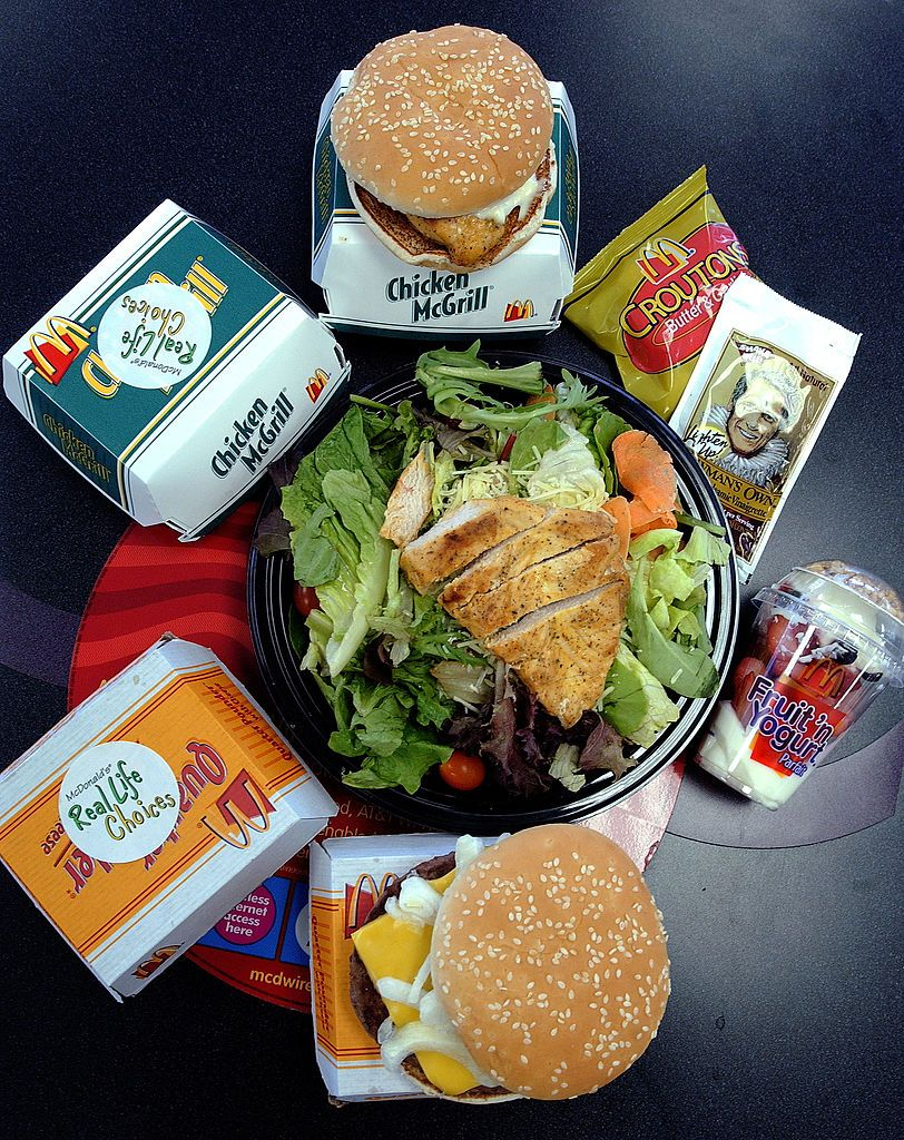 A selection of foods from McDonald's new 'Real Life Choices' menu are displayed January 7, 2004, in New York City.