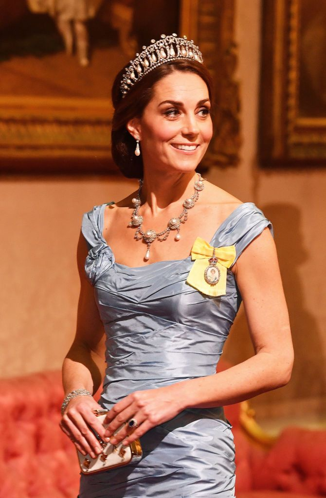 Catherine, Duchess of Cambridge during a State Banquet at Buckingham Palace