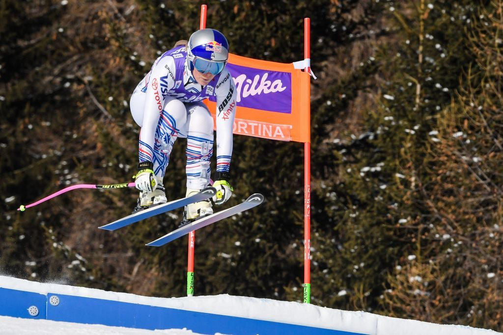 USA's Lindsey Vonn competes in the Women's Downhill event of the FIS Alpine skiing World Cup in Cortina d'Ampezzo