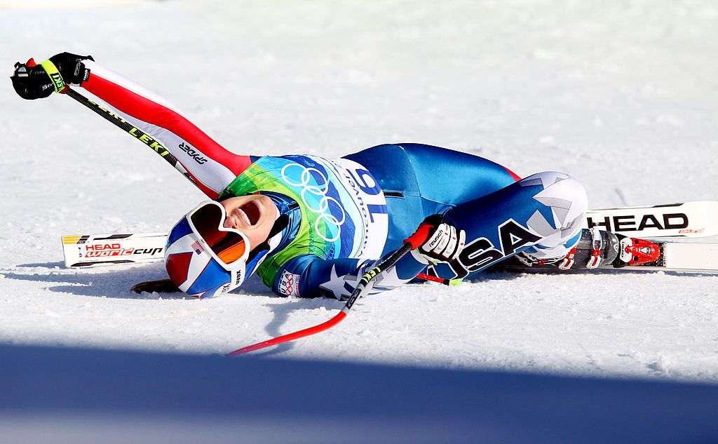 Lindsey Vonn of the United States screams after completing the Alpine Skiing Ladies Downhill on day 6 of the Vancouver 2010 Winter Olympics