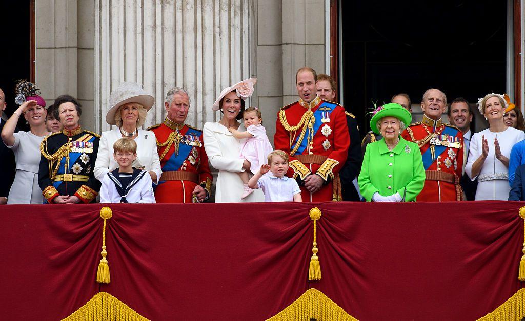 The royal family on a balcony