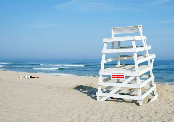 Life guard chair on the beach at The Hamptons