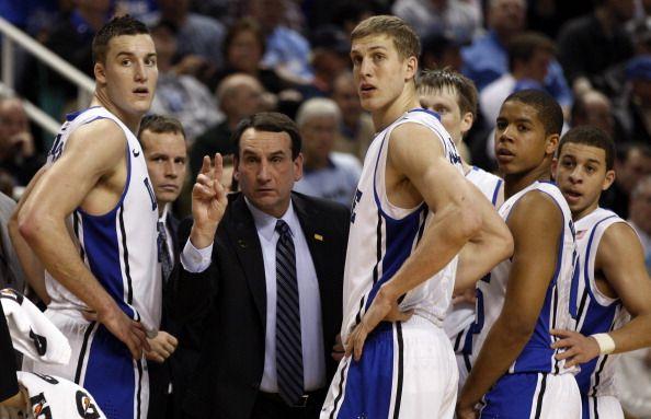 Coach K with Duke players