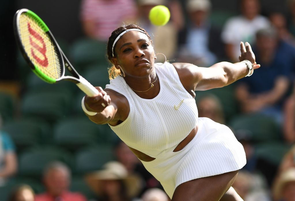 US player Serena Williams returns the ball to Italia's Giulia Gatto-Monticone during their women's singles first round match on the 2019 Wimbledon Championships at The All England Lawn Tennis Club in Wimbledon, London in July 2019