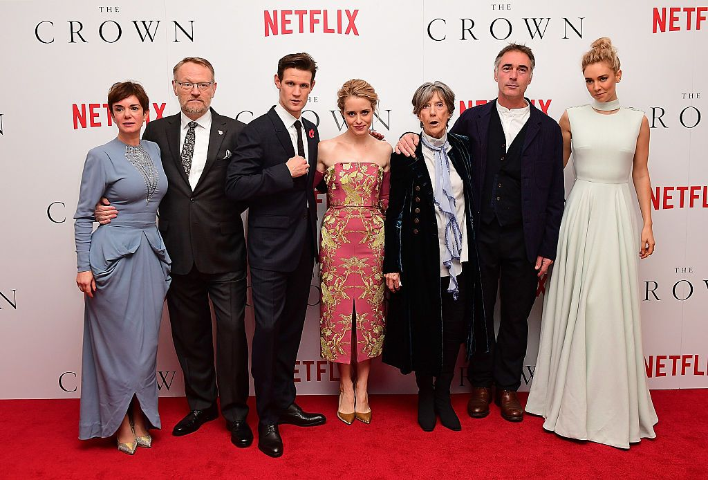 """Victoria Hamilton, Jared Harris, Matt Smith, Claire Foy, Dame Eileen Atkins, Greg Wise and Vanessa Kirby attend the World Premiere of new Netflix Original series """"The Crown"""" at Odeon Leicester Square on November 1, 2016 in England"""
