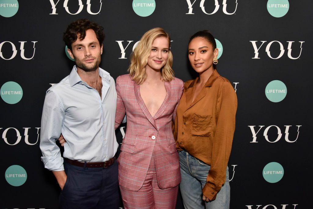 """Penn Badgley, Elizabeth Lail, and Shay Mitchell attend the Screening Of Lifetime's """"You"""" Series Premiere in September 2018 in New York"""