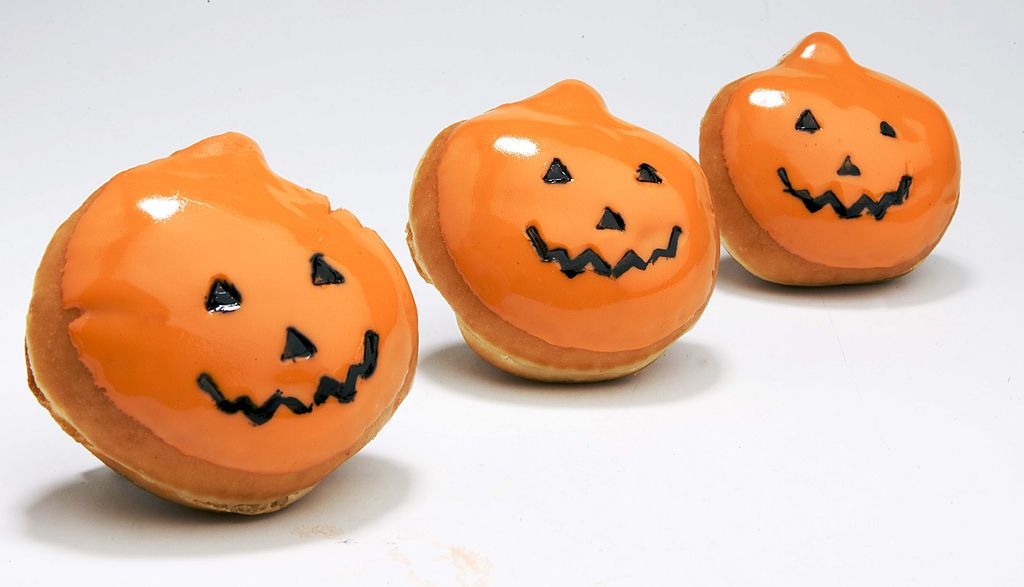 Krispy Kreme's signature doughnut gets a jack-o'-lantern shape and sweet orange frosting for a Halloween treat